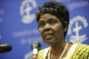 Agnes Abuom, formand for Kirkernes Verdensråds Centralkomité taler ved mødets åbning. Foto: @WCC